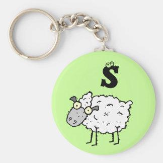 Llavero enrrollado S del monograma de las ovejas d