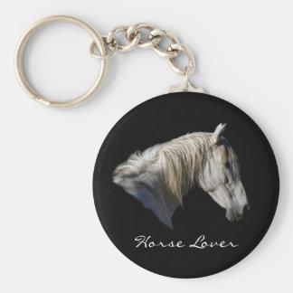 Llavero equino del amante del caballo blanco