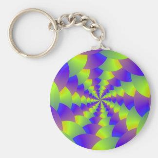 Llavero espiral amarillo y púrpura