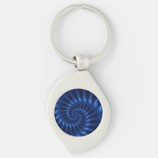 Llavero espiral azul eléctrico del fractal llavero plateado en forma de espiral