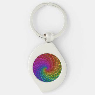 Llavero espiral del arco iris llavero plateado en forma de espiral