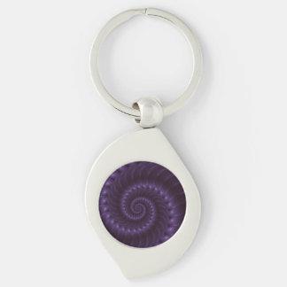 Llavero espiral púrpura del fractal llavero plateado en forma de espiral