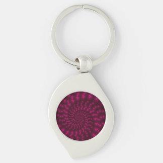 Llavero espiral rosado magenta del fractal llavero plateado en forma de espiral