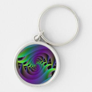 Llavero espiral verde y púrpura
