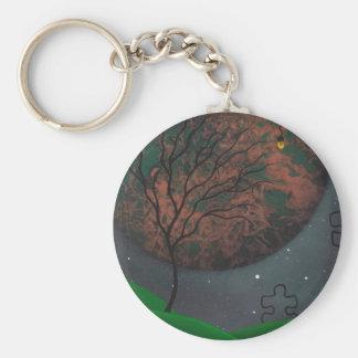 Llavero extranjero de la silueta del árbol del pla