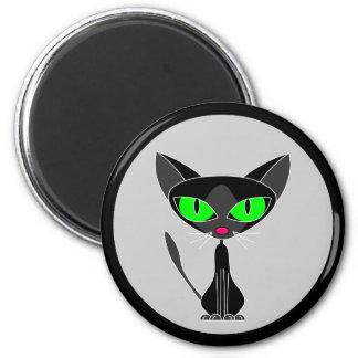 Llavero felino de lujo del gato negro imán redondo 5 cm