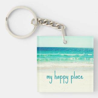 Llavero feliz de la playa del lugar