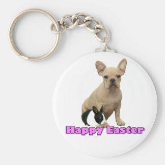 Llavero feliz del dogo francés de Pascua