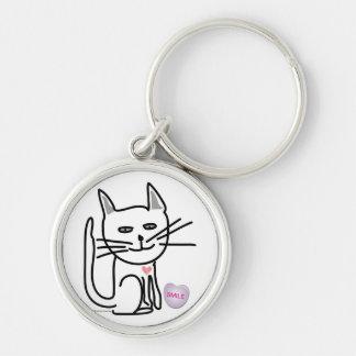 Llavero feliz del gato de la tarjeta del día de Sa