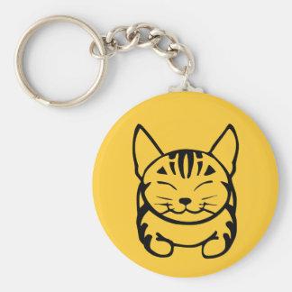 Llavero feliz del gato (negro en amarillo)