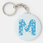 Llavero floral azul bonito inicial del monograma M