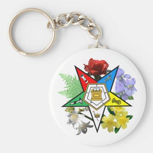 Llavero floral del emblema de OES
