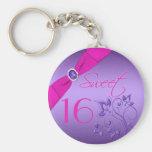Llavero floral púrpura y rosado del dulce dieciséi