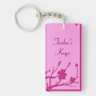 Llavero floral rosado adaptable del tema