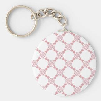 Llavero floral rosado blanco del modelo del cordón