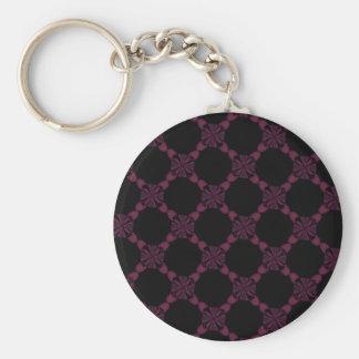 Llavero floral rosado negro del modelo del cordón