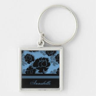 Llavero floral sucio de la decadencia, azul claro