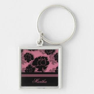 Llavero floral sucio de la decadencia, rosado