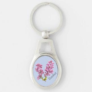 Llavero - flores de la lila con nombre llavero plateado ovalado
