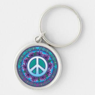 Llavero florido del signo de la paz