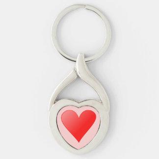 Llavero forma de corazón con corazón llavero plateado en forma de corazón