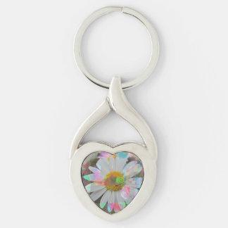 Llavero forma de corazón - representación de flor llavero plateado en forma de corazón