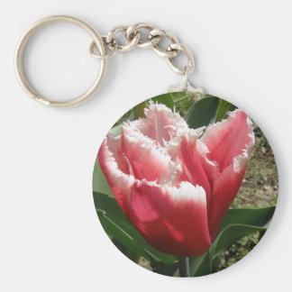 Llavero franjado rosa del tulipán