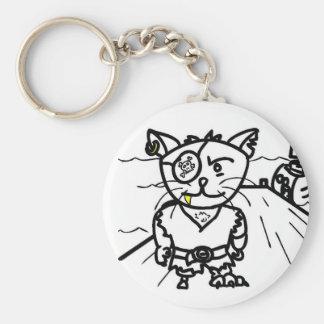 llavero: Gato del pirata Llavero Redondo Tipo Pin