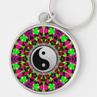 Llavero geométrico psicodélico de Yin Yang