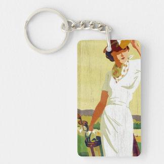 Llavero Golfing de la señora golfista del vintage