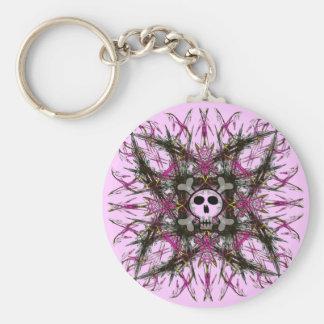 Llavero gótico rosado del fractal del cráneo