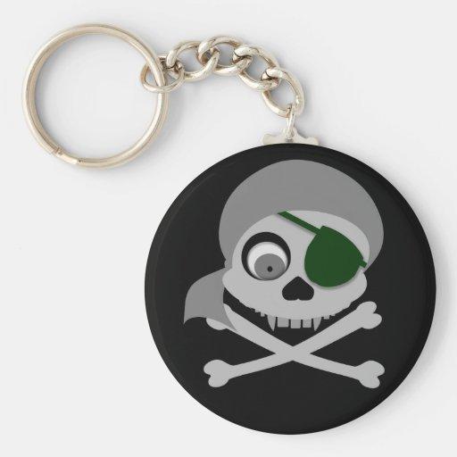 Llavero gris del cráneo del pirata