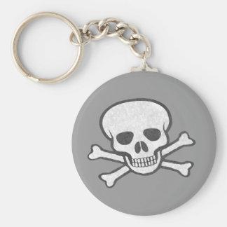 Llavero gris del cráneo y de la bandera pirata