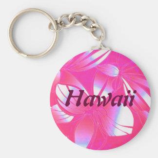Llavero hawaiano del rosa de la impresión floral