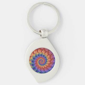 Llavero hermoso del espiral del arco iris llavero plateado en forma de espiral