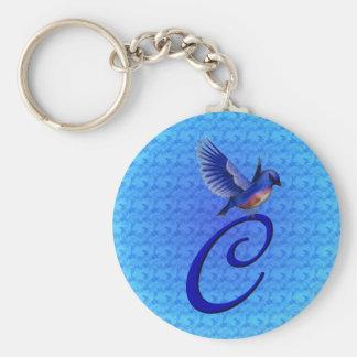 Llavero inicial del Bluebird del monograma C