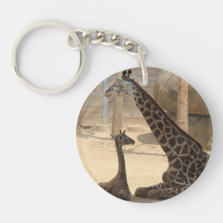 Llavero lindo de la jirafa de la mamá y del bebé