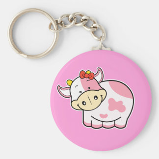 Llavero lindo del rosa de la vaca