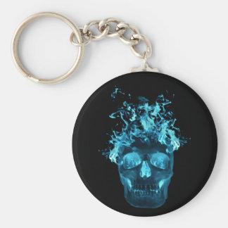 Llavero llameante azul del cráneo