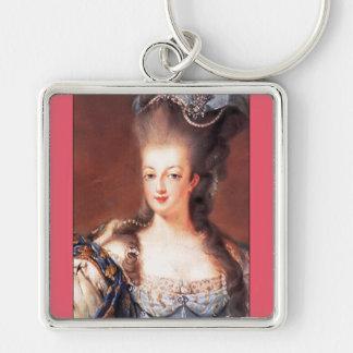 Llavero/llavero de Marie Antonieta del francés de Llavero Cuadrado Plateado