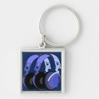 Llavero/llavero púrpuras de los auriculares de la llavero cuadrado plateado
