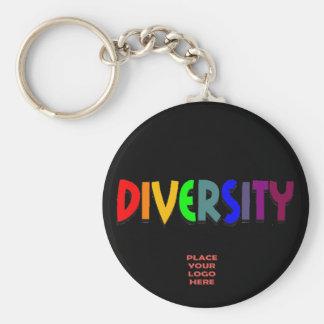 Llavero negro de encargo de la diversidad