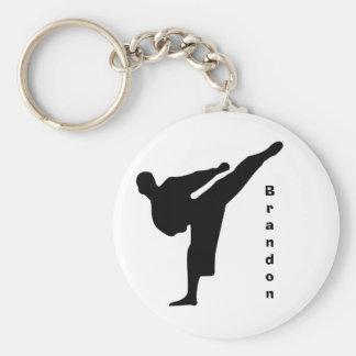 Llavero negro del karate de la silueta