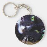 Llavero negro y blanco del gato de la muñeca de tr