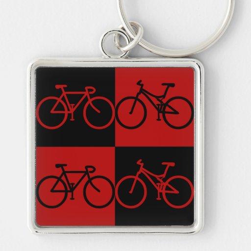 Llavero negro y rojo del BCF de la bici