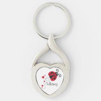 Llavero nombrado mariquita del corazón del amor llavero plateado en forma de corazón