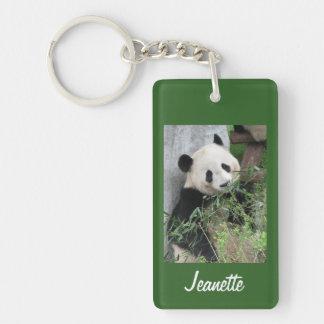Llavero, panda rectangular en fondo verde llavero rectangular acrílico a una cara
