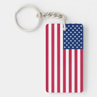 Llavero patriótico americano de la bandera de las