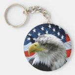Llavero patriótico de la bandera americana de Eagl