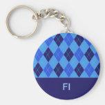 Llavero personalizado argyle azul de la inicial I